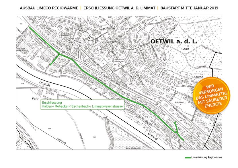 Ausbau Limeco Regiowärme nach Oetwil an der Limmat