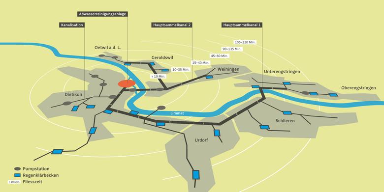 Grafische Darstellung des Einzugsgebiets der Abwasserreinigungsanlage von Limeco (Dietikon, Limmattal)